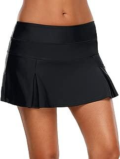 Vetinee Women's Zip Pocket Mid Waist Bikini Tankini Bottom Swim Skirt Swimsuit