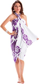 1 World Sarongs Women's Wo Floral Fringeless Swimsuit Cover Up Sarong