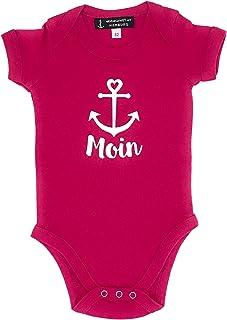 ebbeundflut Baby-Body Moin mit Anker - Himbeerfarbener Baby Body, Geschenk zur Geburt, Babystrampler Moin von ebbeundflut