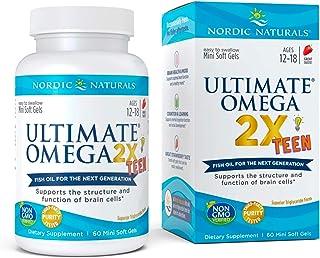 Nordic Naturals Ultimate Omega 2X Teen, Strawberry - 60 Mini Soft Gels - 1120 mg Total Omega-3s with EPA & DHA - Brain Hea...