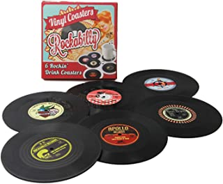 Coasters Set of 6 Colorful Retro Vinyl Record Disk Coaster for Drinks with Funny Labels..