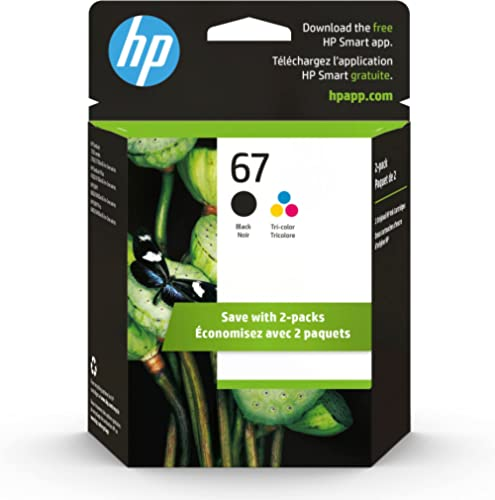 HP 67 | 2 Ink Cartridges | Black and Tri-Color | 3YP29AN