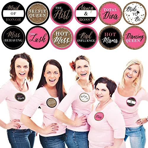 Girls Night Out - Bachelorette Party Name Tags - Party Badges Sticker Set of 12