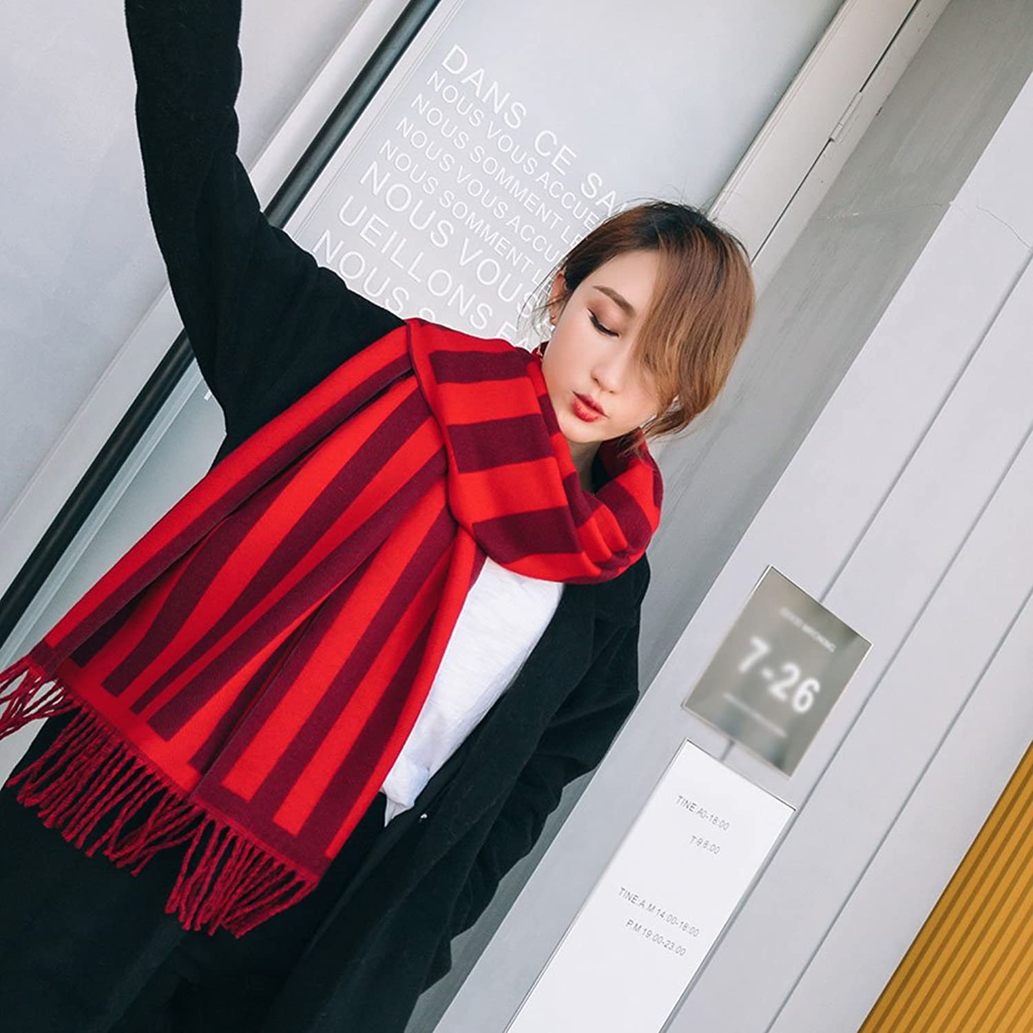 Lady's Shawl- Women's Scarf Fashionable Winter Warm Large Striped Blanket Plaid Scarf Wrap Shawl Decoration ( color   Red )