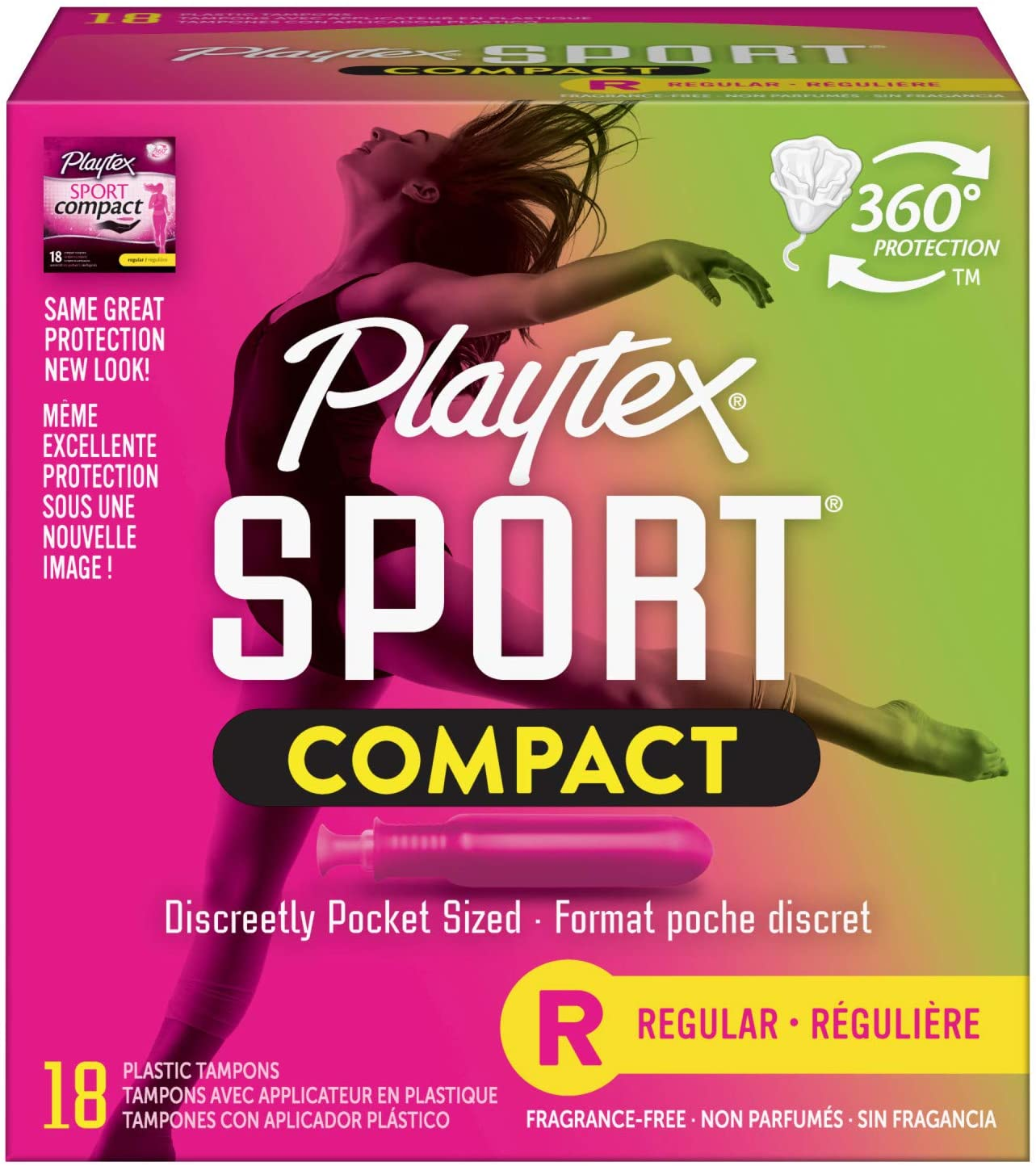 Playtex Sport safety Regular Absorbency Compact Tampons T Max 51% OFF with Flex-Fit