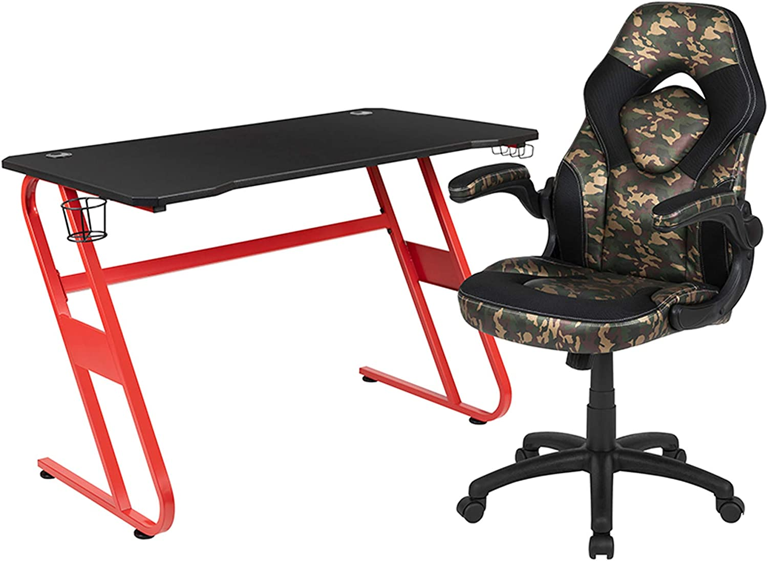 Offex Red Gaming New Free Shipping Desk and Award Camouflage with Black Chair Set Racing