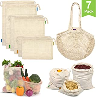 Reusable Produce Bags, Organic Cotton Mesh Bags Muslin Bags with Drawstring Bonus Reusable Grocery Bag for Shopping & Storage, Washable, Biodegradable, Eco-friendly, Tare Weight on Color Tag(7 Pack)