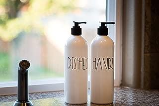 White Dish and Hand Soap Dispenser, Farmhouse Kitchen Sink Decor, Set of 2 White Bottles, 16 oz