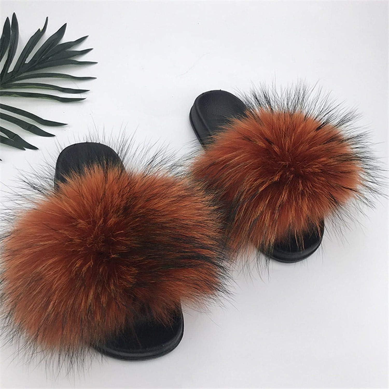 High end Summer Women Fox Fur Slippers Real Hair Slides Woman Furry Indoor Flip Flops Casual Sandals Fluffy Plush shoes