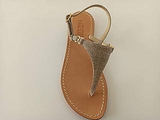 """Sandalo stile""""Positano"""", triangolo glitterato argento"""
