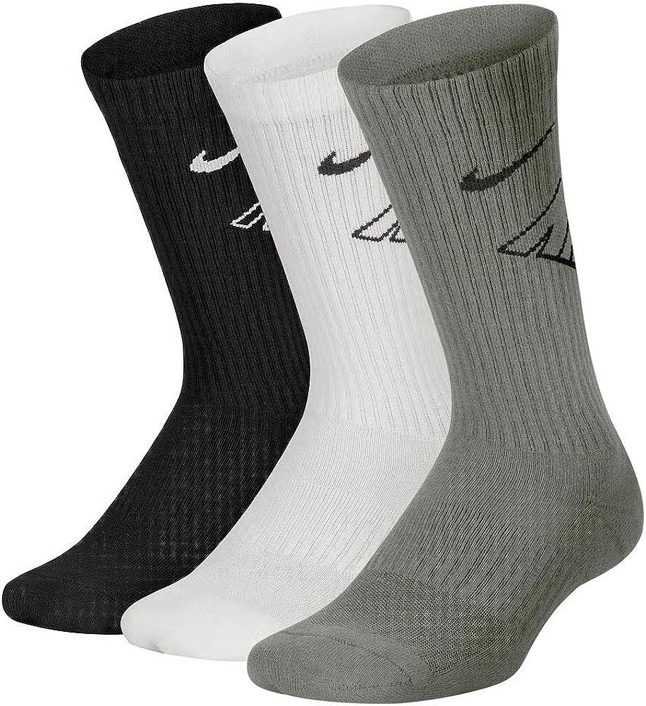Nike Boy`s Performance Cushioned Dri FIT Crew Socks 3 Pack (Grey(UN0002-W1X)/White/Black, 4-5(Youth X-Small(7C-10C)))
