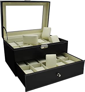 Royal Brands Watch Box, Luxury Design Display and Storage for Watches and Bracelets - Black PU Leather and Chrome Clasp Closure (20 Slots)
