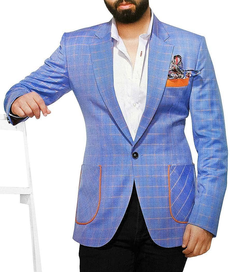INMONARCH Mens Slim fit Casual Sky Blue Checks Blazer Sport Jacket Coat Notched Lapel SB75XL54 54 X-Long Sky Blue