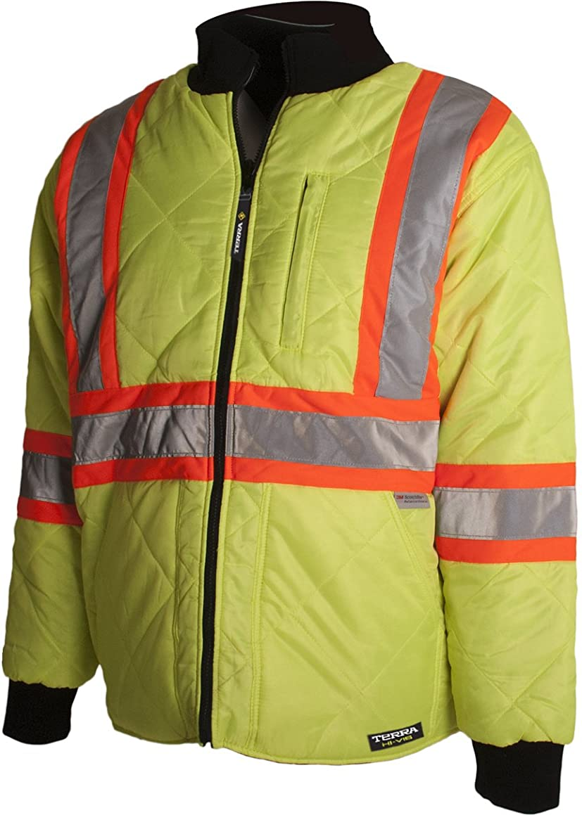 Terra 116505YLM High-Visibility Quilted And Lined Reflective Safety Freezer Jacket, Medium, Yellow