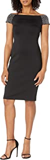 Calvin Klein Women's Off The Shoulder Sheath with Embellished Sleeves