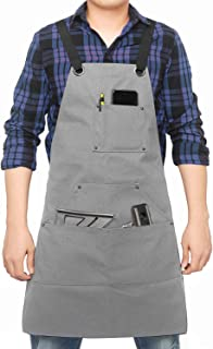 Dadidyc Tool Apron with Pockets Adjustable Heavy Duty Waxed Canvas Shop Apron Work Apron Fits Men and Women, Gray, OneSize
