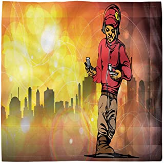 Ambesonne Hip Hop Decorative Napkins Set of 4, Rap Music and Dance Themed Image with a Rapper Guy and City Skyline Background, Silky Satin Fabric for Brunch Dinner Buffet Party, 18, Multicolor