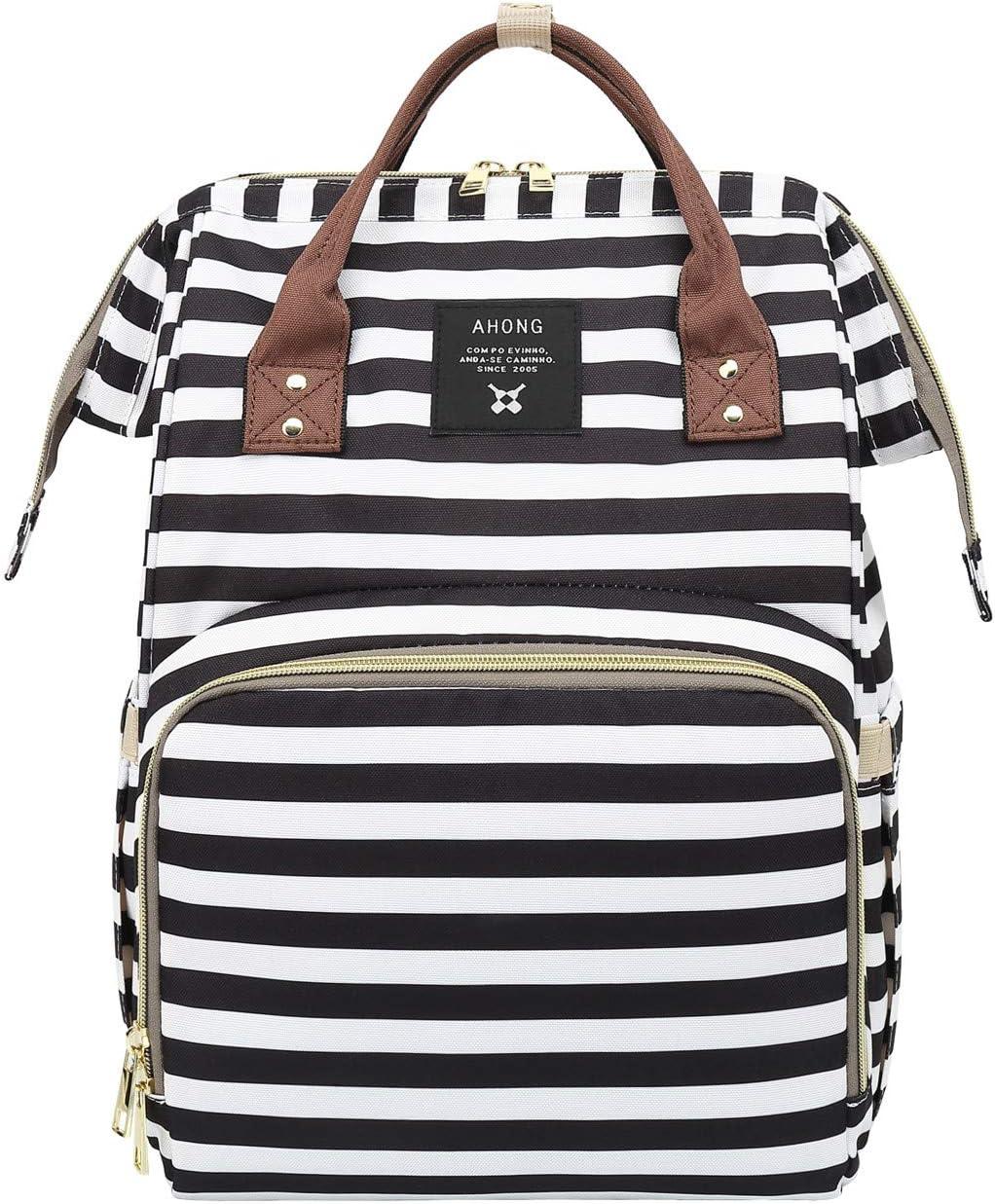 Stripe printing nappy Bags Multi-Function Diaper Bag for Baby Care Handbags Travel Backpack Black/white