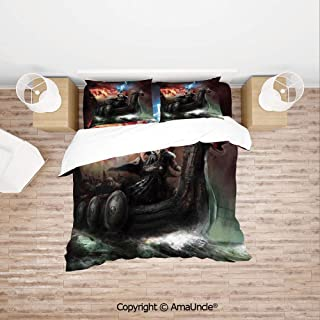 SCOCICI Imaginary Wrath of The Royal Boat with A Dragon and Storm Rays Print Family Decor Home Comforter Bedding Sets Duvet Cover Sets Bedspread for Adult Kids 4 Piece Bedding Set