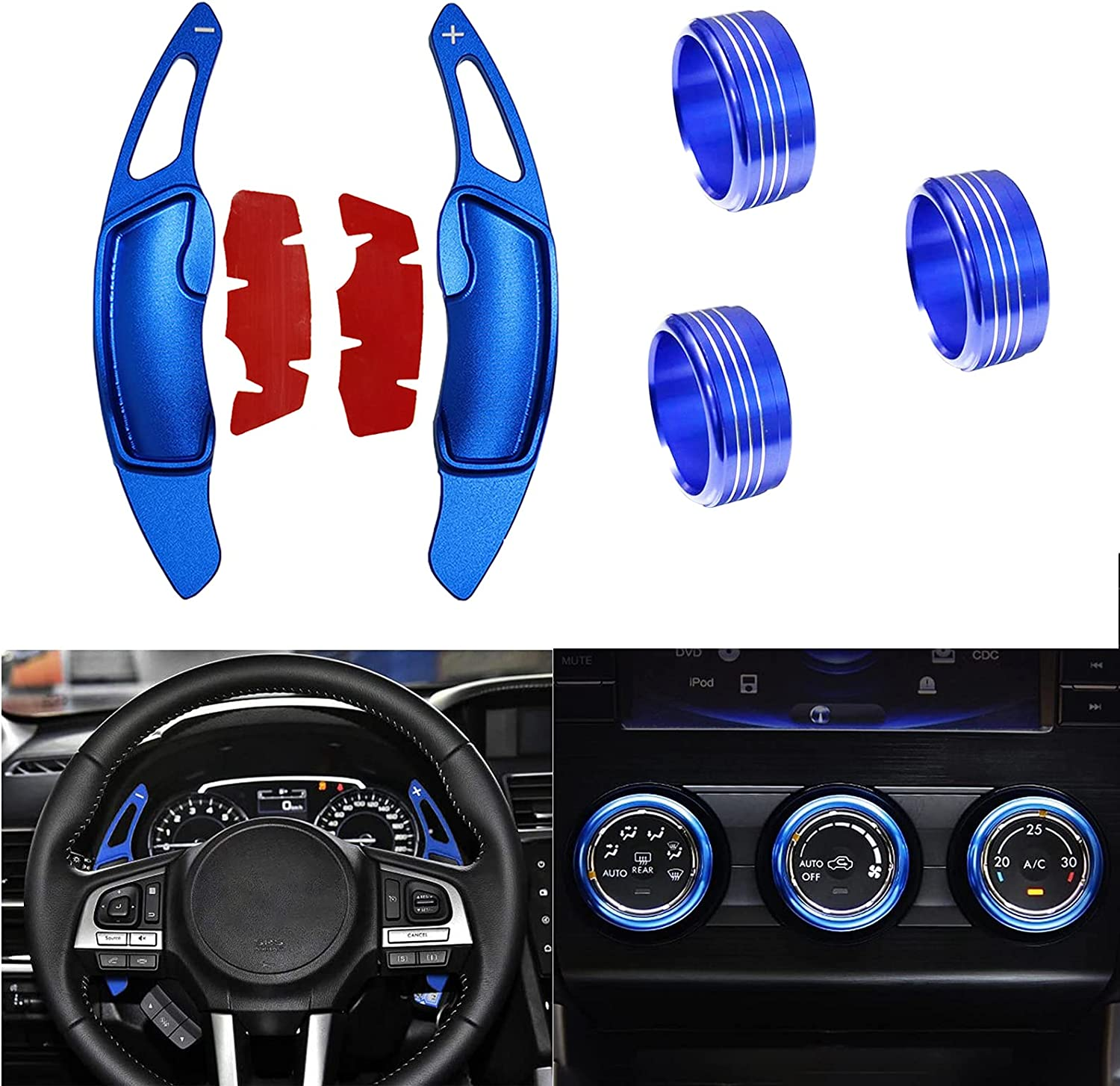 KEALAS 5pcs Aluminum Alloy Steering Wheel Shift Paddle+Air Conditioning A/C Button Knob Decor Cover Fit for Subaru Forester 2014-2018, XV 2014-2017,WRX 2015-2020 (Blue)