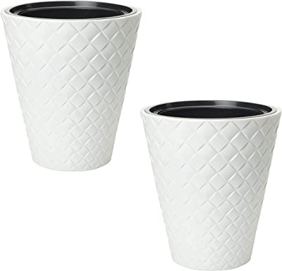 Palm Beach Modern Plastic Planter Flower Pot – Pack of 2 – Indoor Outdoor for Home & Garden 16 (White)