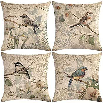 "7COLORROOM Vintage Bird Pillow Covers Birds Singing On The Branch with Flowers & Inspirational Words Cushion Cover Square Cotton Linen 4Pack Home Decorative Pillowcases 18""×18"" (Birds Singing)"