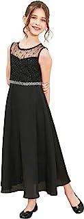 Sunny Fashion Girls Dress Rhinestone Chiffon Bridesmaid Dance Ball Maxi Gown Size 6-14 Years