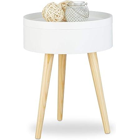 Relaxdays 10020979 Table d'appoint table de chevet scandinave nordique avec plateau amovible rangement, HxlxP: 50 x 38 x 38 cm, blanc
