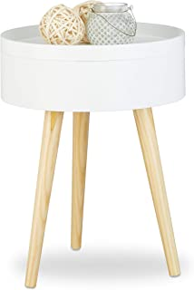 Relaxdays 10020979 Table d'appoint table de chevet scandinave nordique avec plateau amovible rangement, HxlxP: 50 x 38 x 3...