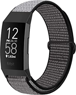 Financingpig コンパチブル Fitbit Charge 4 / Fitbit Charge 3 / Charge 3 SE バンド、ナイロンスポーツバンドブレスレット通気性調節可能な軽量交換ストラップリストバンドアクセサリ (アイア...