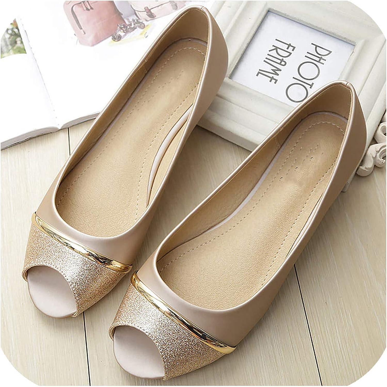 Baixa Flat shoes Women Slip-on Loafers Bling Boat shoes Plus Size 34-43 peep Toe Ladies shoes Female Slip Tenis Feminino