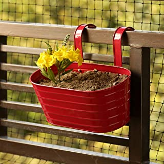 ExclusiveLane 'Glossy Red' Garden and Balcony Decorative Metal Hanging Railing and Table Flower Planter Pot