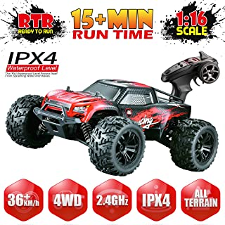 Hosim 1:16 Scale 4WD Remote Control RC Truck G174, High Speed Racing Vehicle 36km/h Radio Controlled Off-Road 2.4Ghz RC Electronic Monster Hobby Truck Buggy for Kids Adults Birthday (Red)