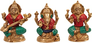 CraftVatika Brass Statue with Inlay Work, B01BM515GY, Multicolour, 3 x 3 x 4.5 inches