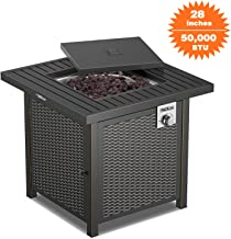 TACKLIFE Propane Fire Pit Table, Outdoor Companion, 28 Inch 50,000 BTU Auto-Ignition Outdoor Gas Fire Pit Table with Cover, CSA Certification, for Garden,Courtyard, Balcony, Terrace and Barbecue