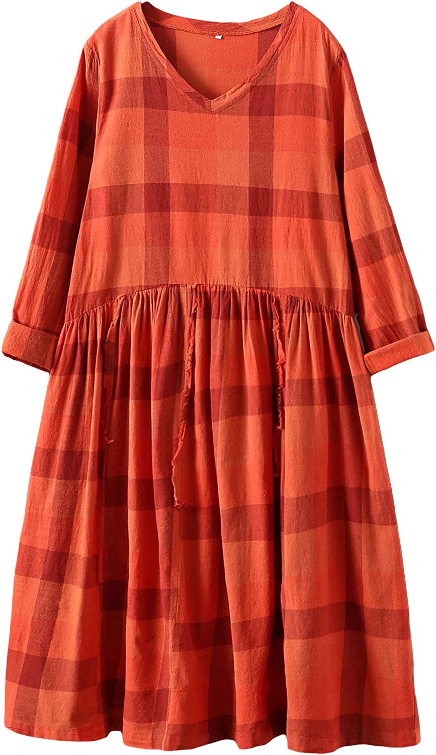 Mordenmiss Women's Plaid Midi Dress Sleeve Shi Long Excellent Online limited product Cotton Swing
