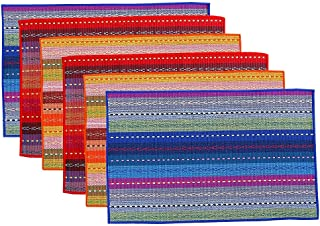 Cotton Table Placemats Set of 6 Woven Braided Ribbed Washable Kitchen Table Mats, 12