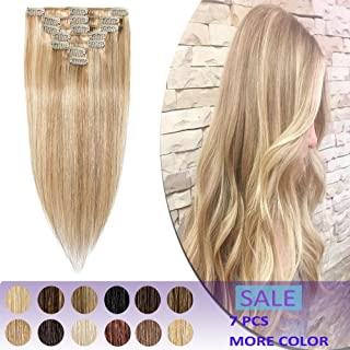 18 Inch Human Hair Clip in Extensions Highlight Remy 7pcs Clips on Remi Hair Extensions Strong Machine Weft 70g Silky Straight for Women Fashion Beauty #18/613 Ash Blonde Mix Bleach Blonde