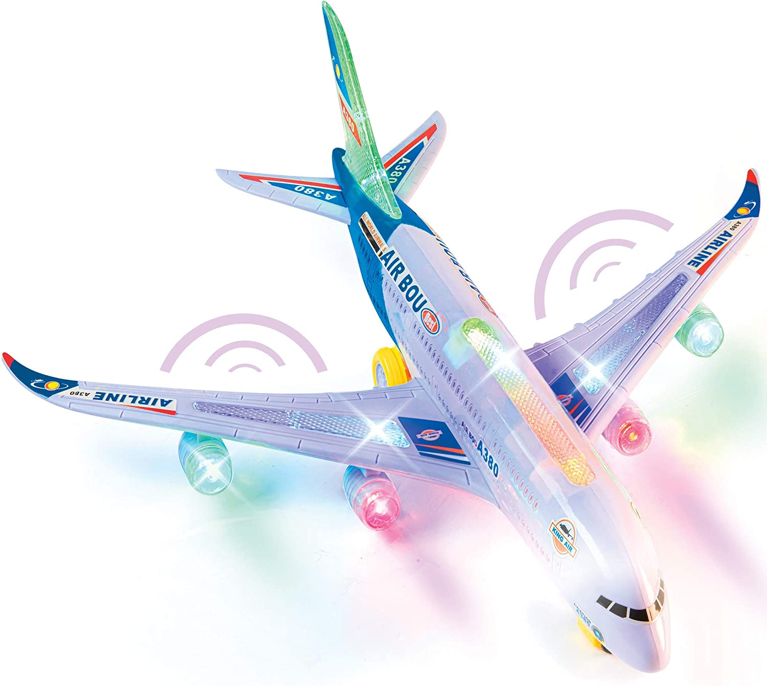 Amazon Com Top Race A380 Airplane Toys For 3 4 5 6 Years Old And Up Plane Toy Model With Lights And Music Bump And Go Airplane Toy For Boys And Girls Toys Games