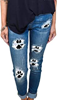 Women's Dog Paw Ripped Jeans Denim Trouser Mid Rise Washed Vintage Jeans