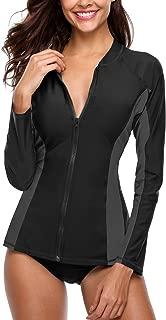 Sociala Women's Zip Front Long Sleeve Rash Guard Top Sun Protection Swim Shirt