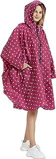 Salamra Fashion Hooded Rain Poncho with Pocket Waterproof Raincoat Jacket Zipper Style for Women/Men