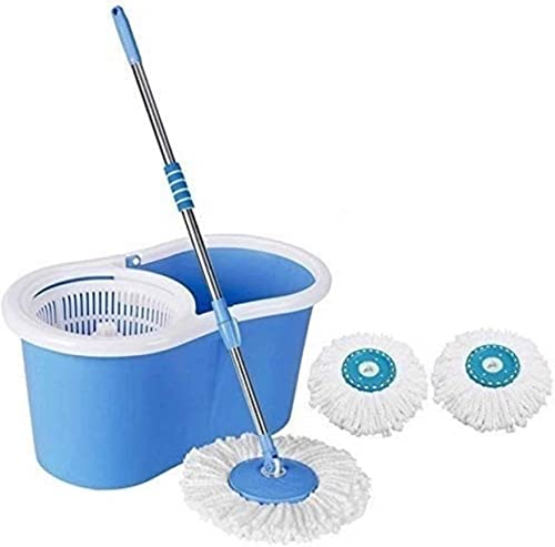 Mop N Me Microfiber 2 Refill 360 Spin Bucket Mop With Wheel To Easy Moving Medium Blue