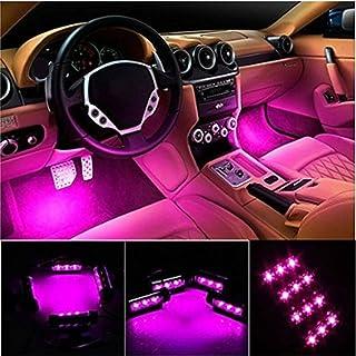 خودرو LED چراغ نوار، EJ SUPER CAR 4pcs 36 LED چراغ خودرو داخلی زیر کیش ضد آب کیت نور، نور سیاه و سفید نئون نوار برای خودرو، DC 12V (صورتی) ...