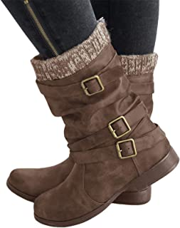 Mafulus Womens Mid-Calf Boots Pull On Buckle Slouch Low Block Heel Winter Fashion Riding Booties