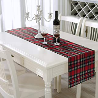 AAYU Red Plaid Table Runner 108 inches, Toppers Tartan Check for Family Dinner or Gatherings, Indoor/Outdoor Use, Daily Use| Yarn Dyed High GSM Fabric