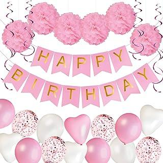 Dekoracje Urodzinowe dla Dziewczynek/Kobiet   Baner Happy Birthday, Papierowe Pompony, Balony   Różowa Dekoracja na Przyję...