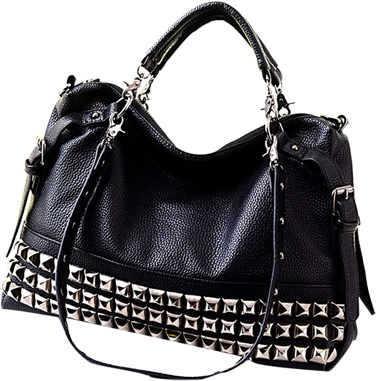 MTRSUE Leather Handbags Tote Bag Shoulder Bag with Rivet for Women