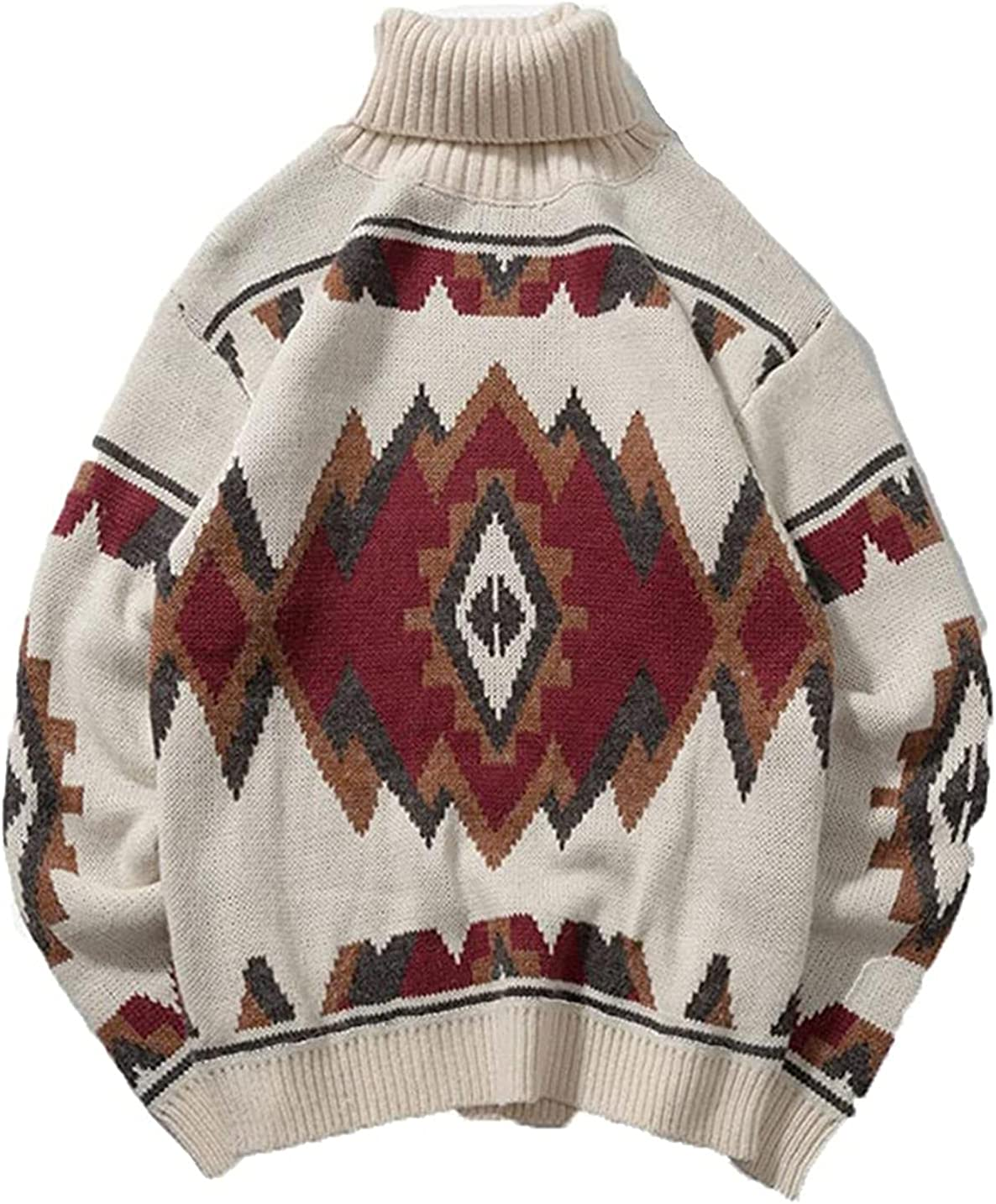 Turtleneck Men's Sweater Autumn Print Knitted Sweaters Casual Loose Vintage Pullover