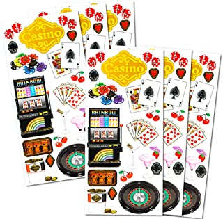 Casino Night Stickers Party Favors Pack -- Over 100 Deluxe Foil Casino Stickers (6 Sticker Sheets, Casino Party Supplies)